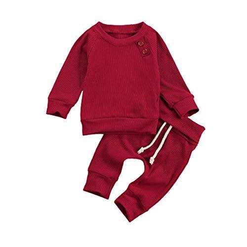 Conjunto de 2 camisas de manga larga para bebé con cordón, pantalones largos, estilo casual, pantalones deportivos, ropa de casa rojo 0-3 Meses