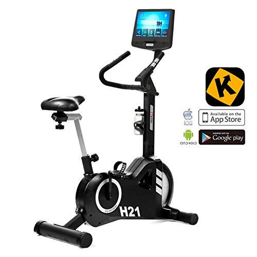 "AsVIVA H21 Pro Heimtrainer und Ergometer Bluetooth, 15,6"" Touchscreen Computer, Kinomap kompatibel, Wi-Fi Anbindung, 20kg Schwungmasse, Permanentmagnetbremse, Handpulssensoren | Fitness-Bike schwarz"