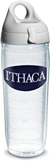 Tervis 1073572 Ithaca College Emblem Individual Water Bottle with Gray lid, 24 oz, Clear