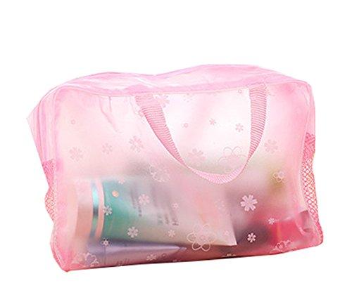 haodou portable pochette/Trousse de toilette/fleurs Trousses transparente Parure de salle de bain brosse à dents Sac organiseur de poche 24 * 9 * 15 cm, rose bonbon, 24*9*15CM