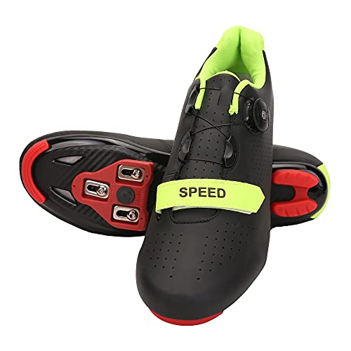Mens Womens Road Bike Cycling Shoes, Riding Spinning Shoes Compatible Peloton Bike Shoes with Look ARC Delta Cleats Perfect for Indoor Outdoor (Black, M9)