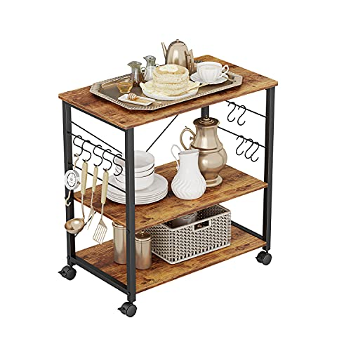 CubiCubi Kitchen Baker's Rack, 3 Tier Utility Kitchen Serving Cart with Wheels, Microwave Cart with Storage, Coffee Station for Kitchen, Metal Frames and 10 Hooks, Rustic Brown
