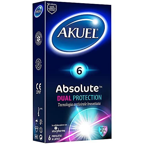 Akuel 6 condones de látex Absolute Dual Protection patentados antivirales