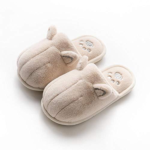 XZDNYDHGX Zapatillas de Invierno Mujer,Zapatillas de algodón de otoño e Invierno para Mujer, Pata de Gato de Piel, Zapatos Interiores cálidos y Gruesos para el hogar, Color Caqui EU 43-44