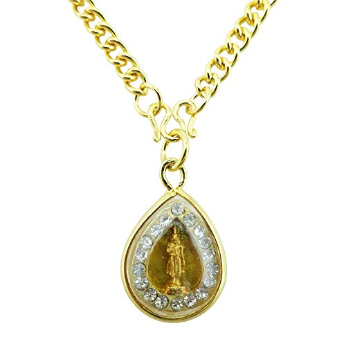 Siwalai Thai Lucky Amulet Birthday – Monday – Buddha Amulet Pendant, Gold-Plated Clear Crystal, Chain Necklace and Deluxe Gift Box Included