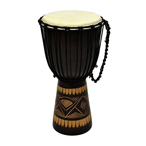 Djembe Trommel Buschtrommel Afrika-Style geschnitzt Handarbeit exotische Motive Schnüre Knoten Ziegenfell schwarz braun Größe wählbar (60 cm)