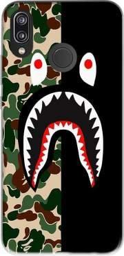 Mobilinnov Custodia in Silicone TPU Protettiva Case Cover per Huawei P20 Lite - Shark Bape Camo Military Bicolor - Case Accessori