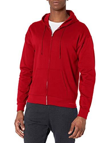 Hanes Men's Full-Zip Eco-Smart Fleece Hoodie, Deep Red, X-Large