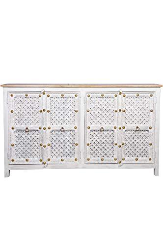 Cómoda oriental Hamdi, 180 cm, color gris y beige, estilo oriental vintage, adornada a mano, estilo rústico indio, de madera, muebles asiáticos de la India