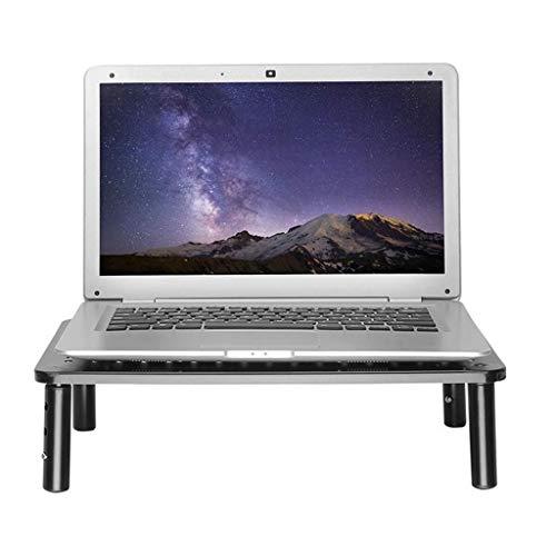 Black Monitor Riser con respiraderos, soporte de computadora de computadora para computadora portátil Monitor de escritorio, soporte de metal pequeño Hight Ajustable Escritorio de escritorio Organizad