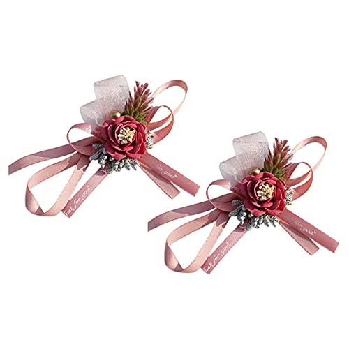 Bncxdc Flor de mano para dama de honor, pulsera de ramillete de muñeca, 2 piezas de ramillete de muñeca para dama de honor, flores de mano para hermanas, flores de novia artificiales para boda