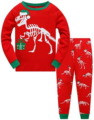 Jungen Mädchen Zweiteiliger Weihnachten Dinosaurier Schlafanzug Kinder Pyjama Junge Langarm Winter Nachtwäsche Weihnachten Pyjama Baby Mädchen 104 (Christmas Dinosaurs-6279 3T)