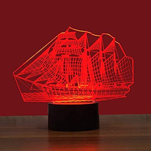 Sailing Boat 1 Colorful 3D Night Light USB Interface Creative Visual Light Touch Art Light 240 * 143