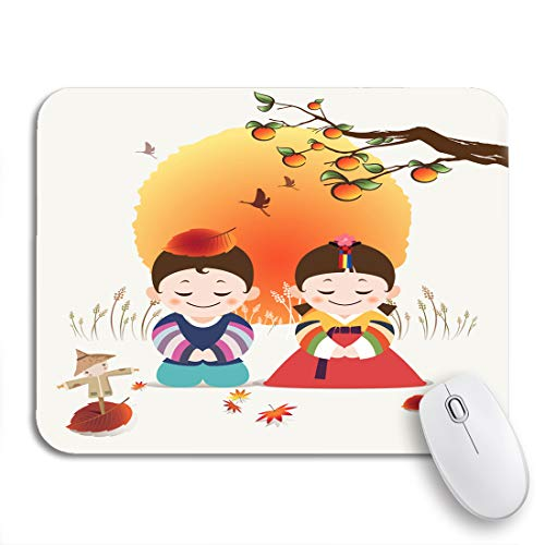 Adowyee Gaming Mouse Pad Korean Happy Autumn Festivals Traditional Hanbok Costume Man 9.5'x7.9' Nonslip Rubber Backing Computer Mousepad for Notebooks Mouse Mats