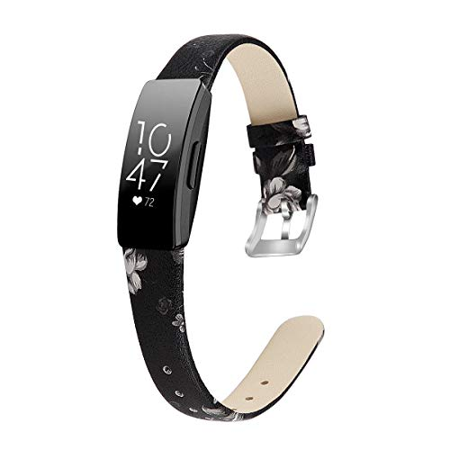 MEFEO Compatible with Fitbit Inspire Bands/Inspire HR Band, Genuine Leather Slim Soft Strap Wristbands Accessories Replacement for Fitbit Inspire Fitness Tracker (Floral 2, Large (6.6