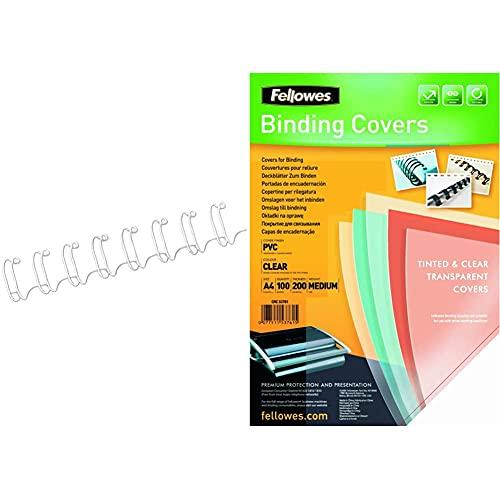 Fellowes CRC53258 Pack de 100 canutillos tipo wire, doble espiral, paso 3:1', 34 agujeros, 8 mm, blanco + Portadas para encuadernar de PVC transparente, formato A4, 180 micras, pack de 100