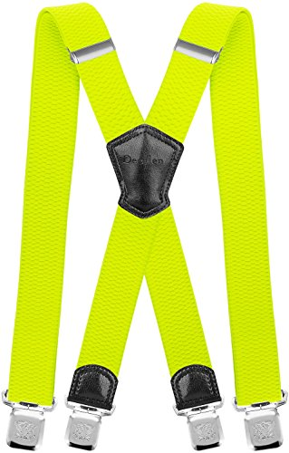 Decalen Hosenträger für Herren Breit 4 cm mit sehr Starken 4 Metall Clip Lang Einheitsgröße für Männer und Damen Einstellbar und Elastisch X Style (Gelbes Neon)