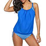 Zando Women's Sporty Two Piece Double Up Tankini With Panty Stripe Lined Up Swimwear Bathsuit Swimsuits for Womens Light Blue Swimsuits L (US Size 8-10)