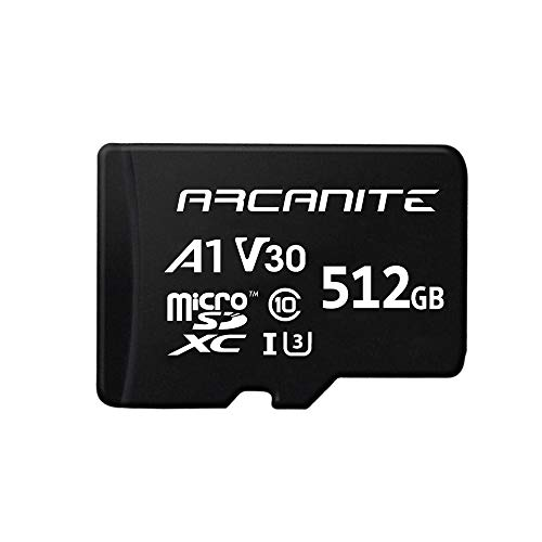 ARCANITE 512GB MicroSDXC Memory Card with Adapter - UHS-I U3, A1, V30, 4K, C10, Micro SD - AKV30A1512