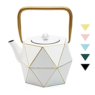 Tea Kettle, TOPTIER Japanese Cast Iron Teapot with Stainless Steel Infuser, Cast Iron Tea Kettle Stovetop Safe, Diamond Design Teapot Coated with Enameled Interior for 30 oz (900 ml), White