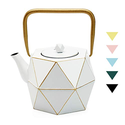 Tea Kettle TOPTIER Japanese Cast Iron Teapot with Stainless Steel Infuser Cast Iron Tea Kettle Stovetop Safe Diamond Design Teapot Coated with Enameled Interior for 30 oz 900 ml White
