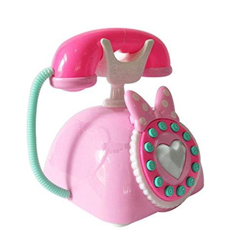 Black Temptation Simulation des Enfants Mignons Princesse Téléphone Jouet Landline-Pink