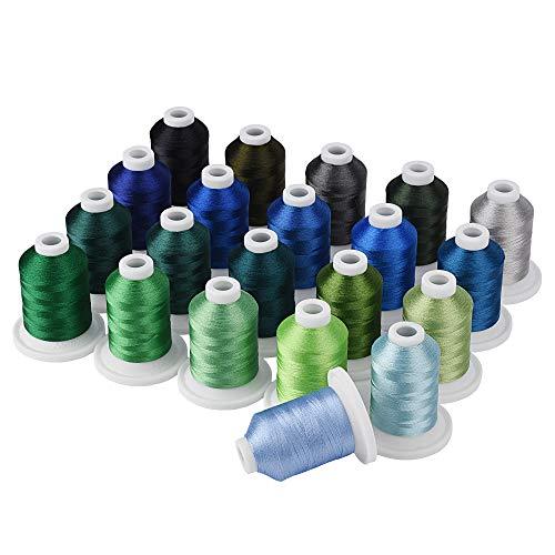 Simthread - Kit de hilo para máquina de bordar (800 y 21 carretes), color azul y verde