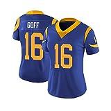 Los Angeles Rams équipe, Jersey de Rugby féminin, 16 Goff Tech Respirante en Jersey de Coton T-Shirt, Grand garçons Pro Suit Rugby (Color : Blue, Size : M)
