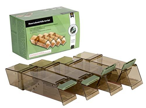 Köder-Discount 4X Mäusefalle Lebend-Falle für Mäuse aus Kunststoff - Professinonelle Kastenfalle für innen, außen, Garten & Haus