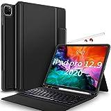 IVSO Tastatur Hülle für iPad Pro 12.9 2020, Wireless Nicht abnehmbar Tastatur Schutzhülle mit Standfunction für iPad Pro 12,9 Zoll 2020 Tablet (QWERTZ, Deutsches Layout), Schwarz