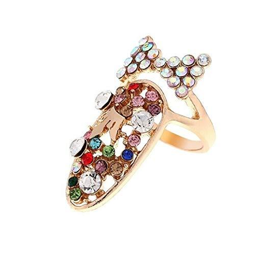 Winwinfly Frauen Bowknot Nagel Ring Charme Krone Blume Harz Strass Fingernagel Ringe Schmuck,# 6
