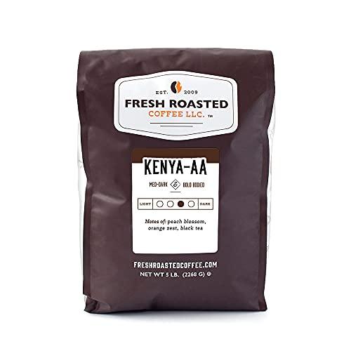 Fresh Roasted Coffee, Kenya AA, Med-Dark Roast, Kosher, Whole Bean, 5 Pound