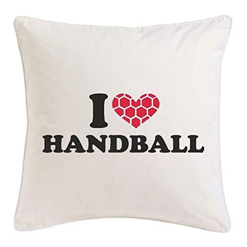Reifen-Markt Kissenbezug 40x40cm I Love Handball Coach - HANDBALLTURNIER - Handball Spieler - HANDBALLVEREIN - Handball Trainer aus Mikrofaser in Weiß