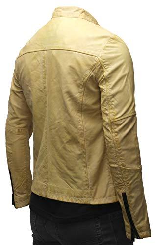 Crone - Chaqueta de cuero Epic Cleane Basic para hombre, en diferentes variantes y colores Heavy Washed Yellow (cuero de vaca). XXL
