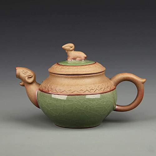 POTOLL Tetera con Colador Tetera pequeña Hecha a Mano cerámica XI Shi Olla de Tres Patas Hielo Tetera Agrietada @e