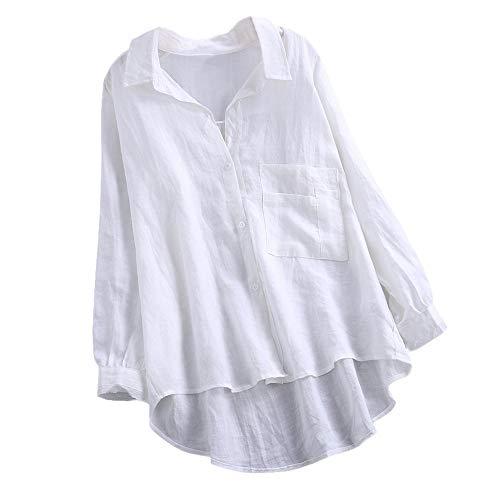 SHOBDW Ventas de liquidación Mujeres Daily Casual Sexy Mandarin Soft Collar Suelto de Lino Soild Botón...