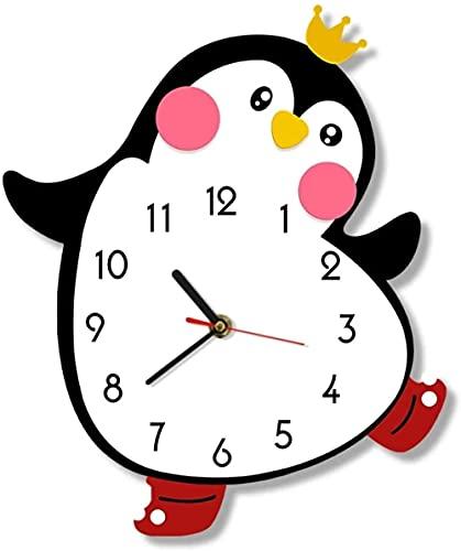 Reloj de pared lindo princesa chica pingüino dibujos animados reloj de pared movimiento silencioso dormitorio dormitorio niños pared arte decoración color impreso
