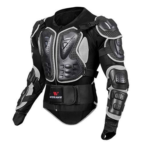 Sanqing Motorrad-Schutzjacke, atmungsaktive Motorrad-Ganzkörper-Rüstungsschutz-Rennjacke Motocross-Schutzhemd für Outdoor-Sport-Schutzjacke,Black,XXL