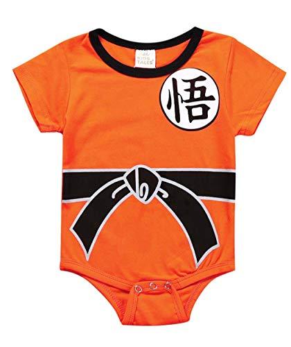 Askong Baby Jungen Halloween Cosplay Dragon Ball Z Son Goku Kurzarm Strampler Kleidung für 3 Monate bis 3 Jahre Gr. 6-12 Monate, Orange
