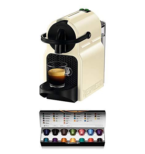 Nespresso De'Longhi Inissia EN80.CW - Cafetera monodosis de cápsulas Nespresso, 19 bares, apagado automático, color crema, Incluye pack de bienvenida con 14 cápsulas