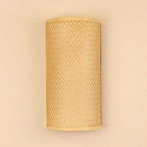 Sooiy Rattan de Mimbre de bambú Sombra túnel del Muro de luz de lámpara Aplique Casa rústica Cabecera Carril 2 Luces E27 Edison iluminación de la lámpara de la decoración de la lámpara de la Linterna