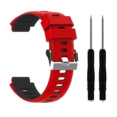 kexinda Uhrenarmband Sport-Bügel-Band Armband kompatibel mit Garmin Forerunner 220/230/235/620/630 / 735xt, Rot Schwarz