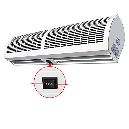 Cortina de aire interior comercial Máquina de cortina de aire, silenciosa y de ahorro de energía, amortiguador natural, control remoto y interruptor de botón, ajuste de 2 velocidades, aislamiento de p