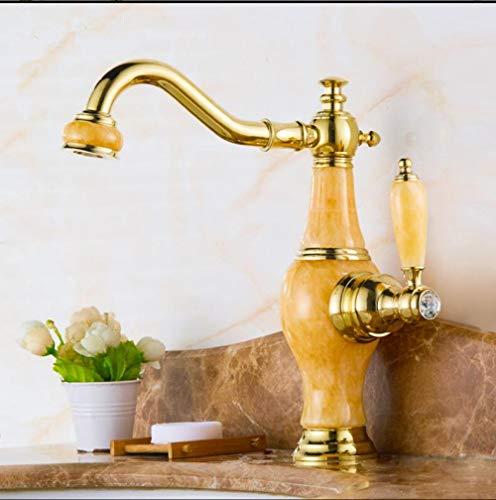 WANDOM Basin Kraan Gouden Kraan Messing Jade Lichaam 360 Graden Draaibare Badkamer Basin Kraan Deck Mount Aanrechtblad Water Mixer Tap Model 1