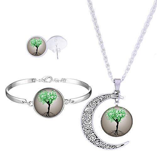 YAZILIND 3 piezas collar Stud Pendientes pulsera conjunto luna árbol de la...