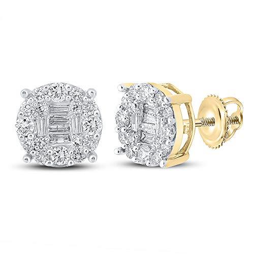Diamond2Deal Pendientes de oro amarillo de 10 quilates para hombre, diseño de baguette de 5/8 quilates