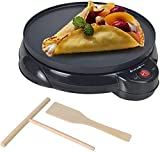 Health and Home Electric Crepe Maker - 10'Crepe Pan,Crepe Griddle, Non-stick Pancake Maker - Easy Clean & Includes Wooden Spatula, Batter Spreader