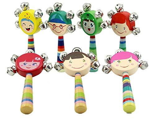 Hosaire 1X Juguete Sonajero,Sonajero Coctelera Musical Juguetes de Madera para niños,Estilo de Avatar de Dibujos Animados,Campanas Sonajero Bebé Niños Juguetes para Cochecito(Color al Azar)