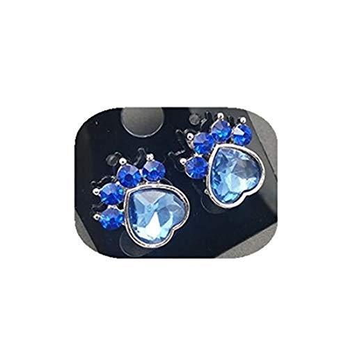 yichahu Juego de pendientes de aguja de cristal con diseño de huellas de perro, diseño de huella de gato, piedra natal de diciembre, oreja de pata de perro (5)