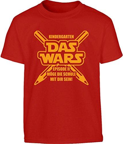 Geschenk für Schulanfänger Einschulung Das Wars Jungen Kinder T-Shirt 128 Rot